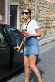 Gal Gadot stuns in white tee and denim skirt in her native Israel