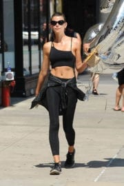 Georgia Fowler shows off navel Out and About in New York