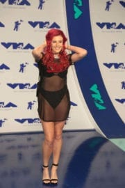 Justina Valentine wears Transparent Dress at 2017 MTV Video Music Awards in Los Angeles