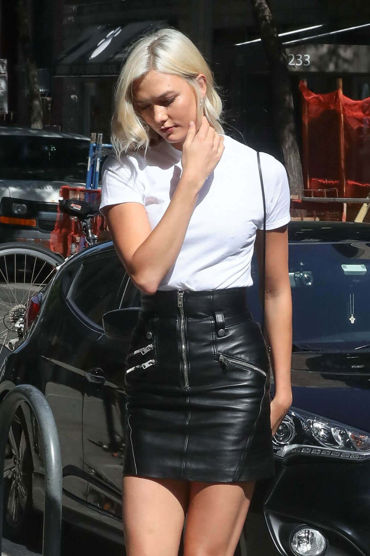 Karlie Kloss wears Shorts show off legs Out for Lunch in New York