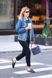 Kate Mara wears blue denim jackets out and about in New York
