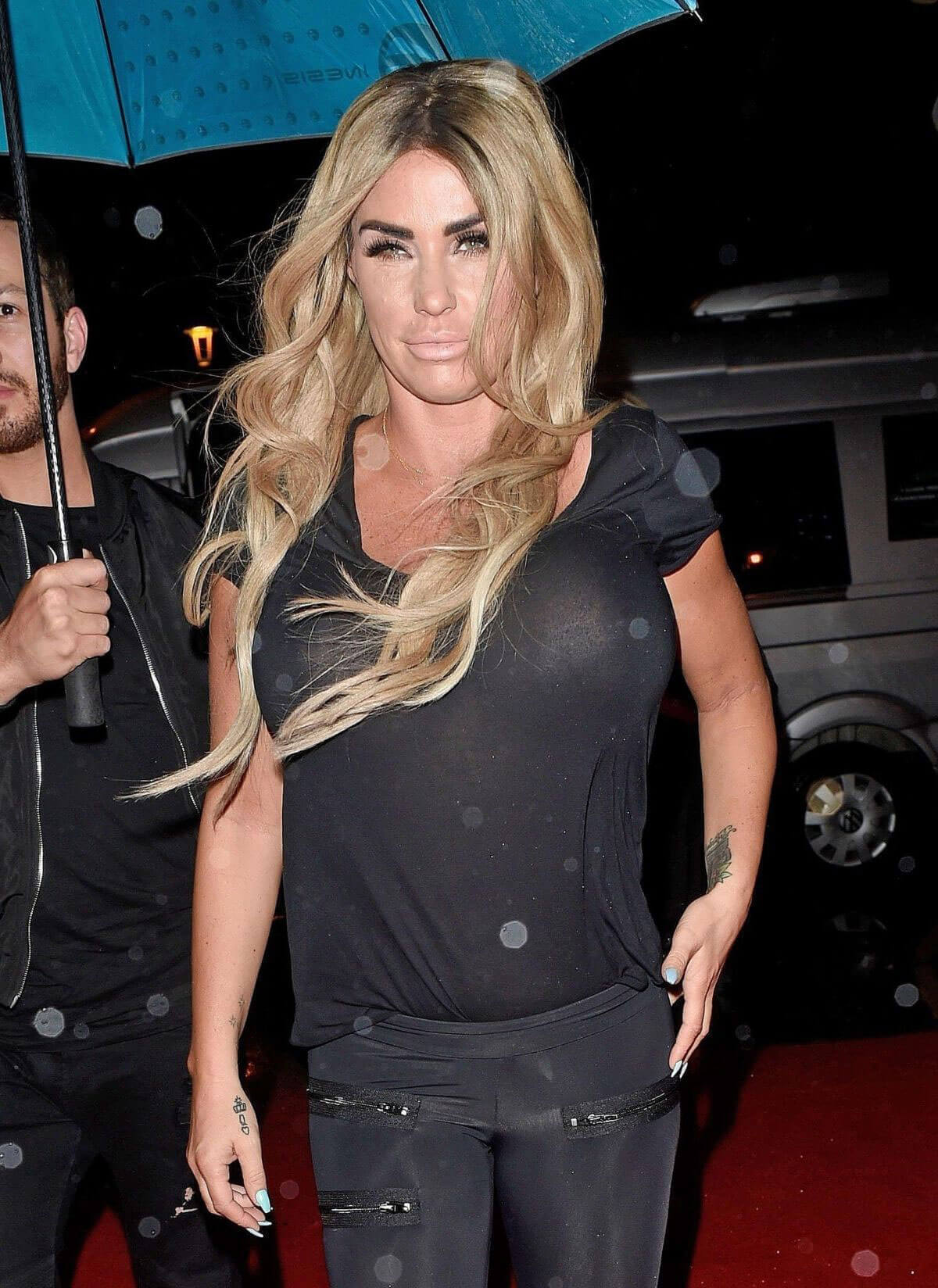 Katie Price wears transparent top at a party in Blackpool