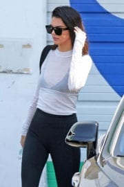 Kendall Jenner wears transparent top and tights bottom Leaves a Studio in Calabasas