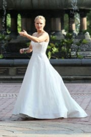 Kristen Bell Stills in Wedding Dress on the Set of Like Father in New York