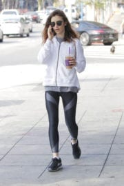 Lily Collins Stills After Her Workout in Beverly Hills