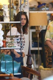 Lily Collins Stills at Shopping With Her Mother in Beverly Hills