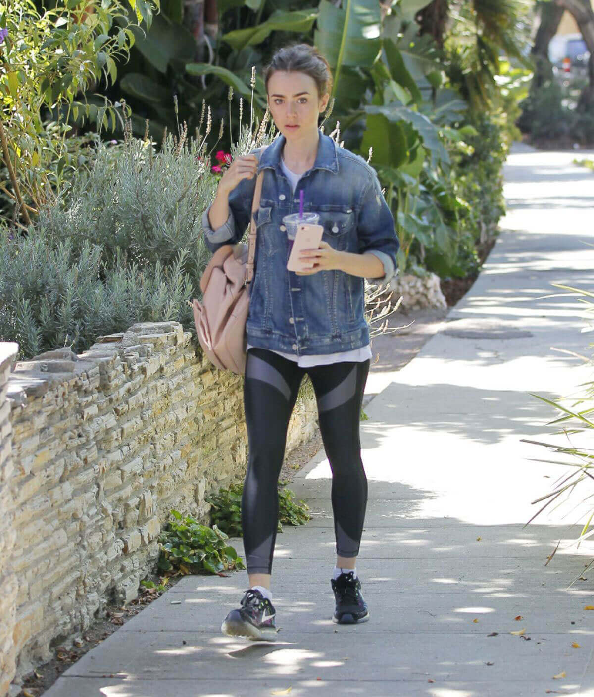 Lily Collins Stills Out for Ice Tea in Beverly Hills Images