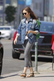 Lily Collins wears tights leggings out and about in Beverly Hills
