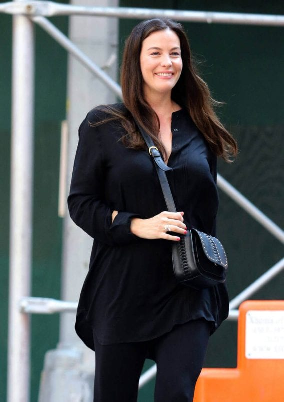 Liv Tyler wears all black dress out and about in New York