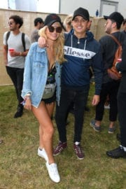 Lottie Moss shows off legs at V Festival in Chelmsford