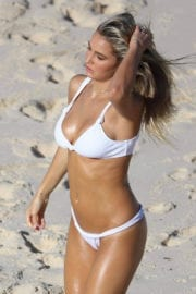 Madison Edwards wears White Bikini Photoshoot at Tamarama beach in Sydney