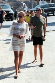 Natasha Poly shows off lean legs on Vacation in Mykonos