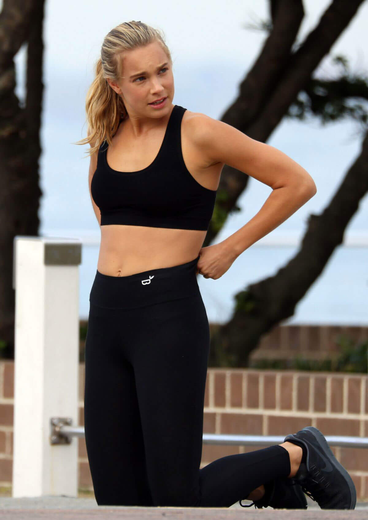 Nathalie Darcas Stills on the Set of a Photoshoot for Gym Wear