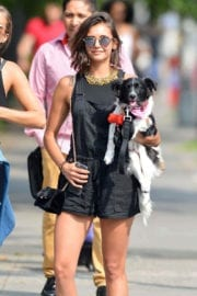 Nina Dobrev Stills Out With Her Dog In New York Images