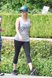 Reese Witherspoon Stills Out Jogging in Brentwood Photos