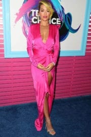 Rita Ora at Teen Choice Awards 2017 wears a plunging cinched gown in Los Angeles