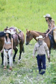 Sara Sampaio and Taylor Hill Stills in Cowboy Outfit Shooting for Victoria's Secret in Aspen