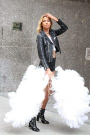 Stella Maxwell displays lean legs at Victoria's Secret Offices in New York