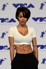 Teyana Taylor flashes abs at 2017 MTV Video Music Awards in Los Angeles