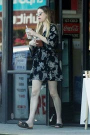 Whitney Port showing hot legs in black dress at Walgreen's in Los Angeles