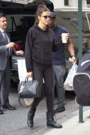 Adriana Lima wears Black Sweater & Jeggings at Her Hotel in New York