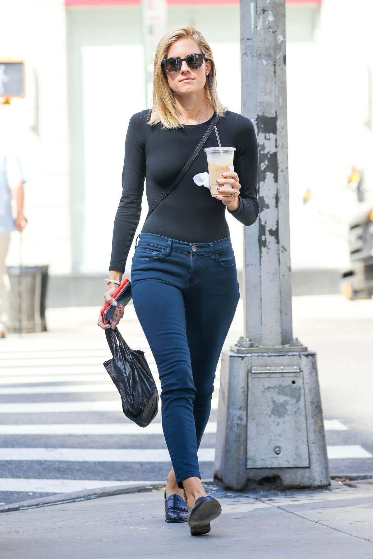Allison Williams wears Tight Top & Jeans out for Coffee in New York