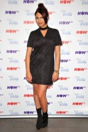 Amy Childs shows off legs in Short Dress at Now TV Pop-up Troll Beauty Salon VIP Launch in London