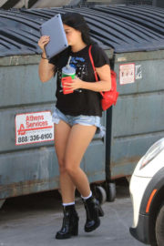 Ariel Winter shows off Legs in Denim Shorts at a Hair Salon in West Hollywood