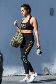 Ashley Tisdale wears sports bra & tights leaves Rise Nation in Los Angeles