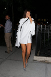 Bella Hadid shows off legs in minidress night out in New York