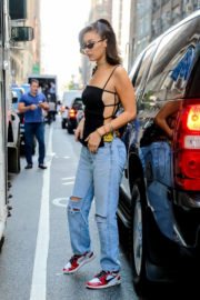 Bella Hadid wears sideshow top & jeans out and about in New York