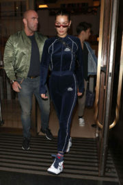Bella Hadid wears Velvet Tracksuit Stills Out and About in London