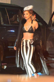 Bella Thorne wears Bra & Stripped Pants Arrives at Party in New York