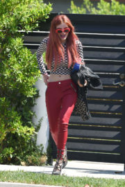 Bella Thorne wears Checked Top & Fittings Bottom Out in Los Angeles