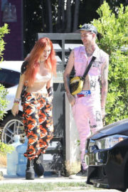 Bella Thorne wears Floral Lower Out and About in New York