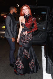 Bella Thorne wears One Side Off Shoulder Dress Night Out in New York