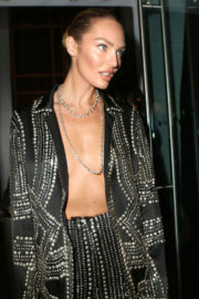 Braless Candice Swanepoel at Harper's Bazaar Icons Party in New York