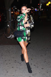 Braless Shay Mitchell shows off cleavage in her dress night out in New York