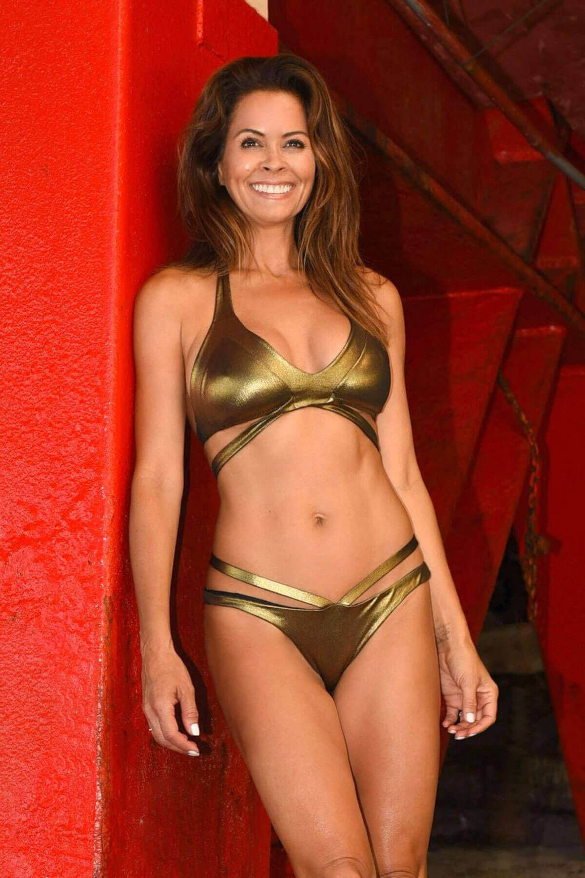Brooke Burke-Charvet wears metallic bikini at a beach in Malibu