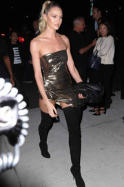 Candice Swanepoel shows off legs at Mert & Marcus Book Launch in New York