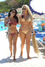 Casey Batchelor and Franke Essex Stills in Bikinis at a Pool in Spain