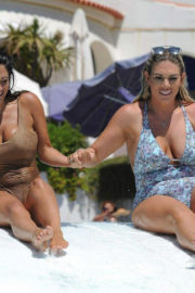 Casey Batchelor and Frankie Essex Stills in Swimsuits at a Pool in Spain