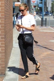 Cat Deeley wears white top and black jeans out and about in Beverly Hills