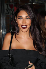 Chantel Jeffries shows off legs in short dress night out in New York