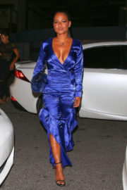 Christina Milian shows off cleavage in dress night out Mastro's Restaurant in Beverly Hills