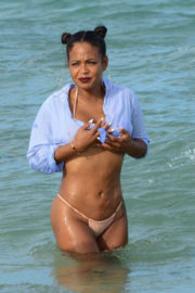 Christina Milian wears peach color bikini at a beach in Miami