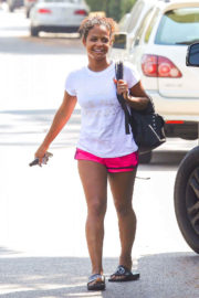 Christina Milian wears Sports Shorts Out and About in Studio City
