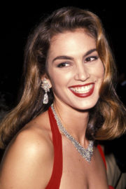Cindy Crawford Poses for Red Dress and Diamonds at Revlon's Unforgettable Women Contest in 1990