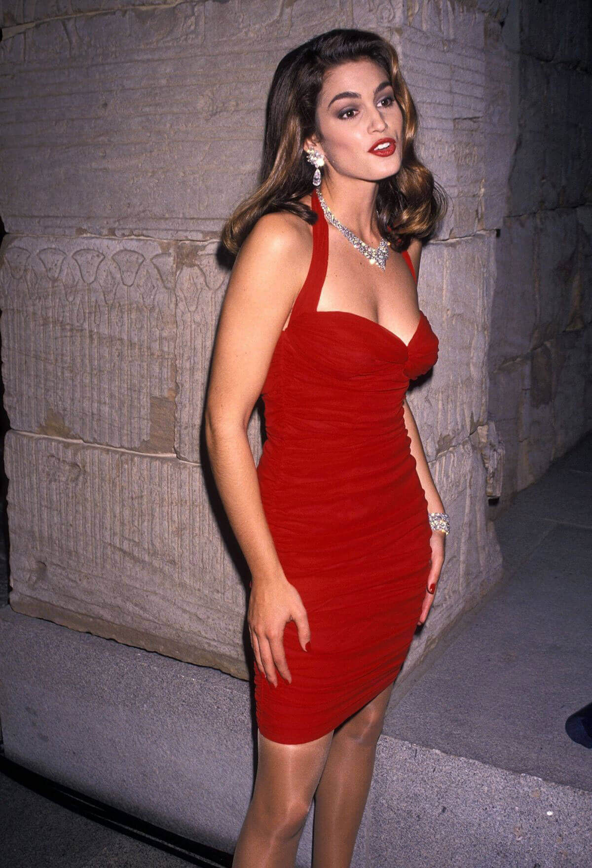 Cindy Crawford Poses For Red Dress And Diamonds At Revlon