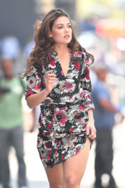 Danielle Campbell Stunning Look in Short Dress Out and About in New York